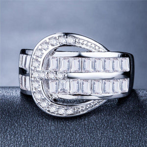 Fashion Cocktail Party Ring with Knot Design Brilliant Cubic Zirconia Luxury Jewelry Promise Rings for Couples Lover Gift - www.eufashionbags.com