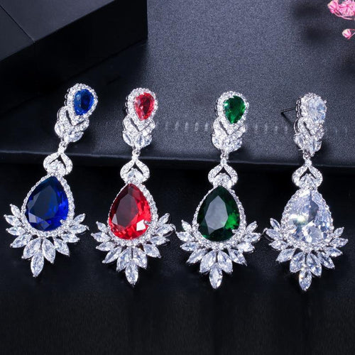 Evening Dinner Party Wedding Jewelry Luxury Long CZ Crystal Big Drop Dangle Earrings for Brides - www.eufashionbags.com