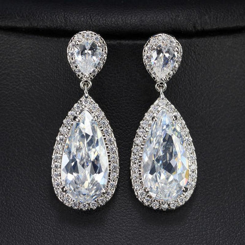 Classic Silver Color White Cubic Zirconia Crystal Long Tear Drop Dangle Earrings For Women Party Jewelry Gift - www.eufashionbags.com
