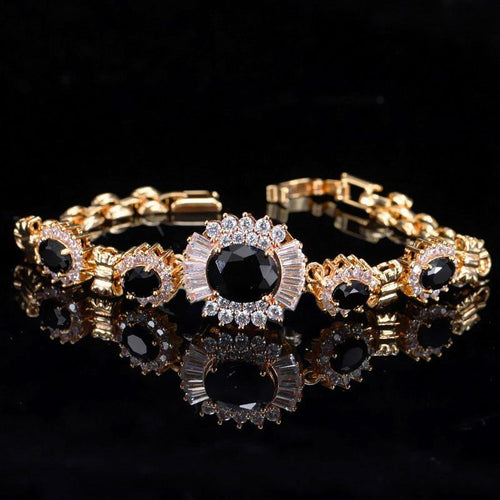 Fashion Flower Shape Chain & Link Bracelets CZ Black Crystal Stone Women Bracelet Bangles - www.eufashionbags.com