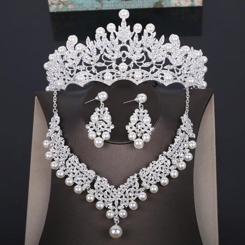 Women Wedding Jewelry Sets Crystal Pearl Costume Jewelry Sets Rhinestone Necklace Earrings Crown Tiaras Set - EUFASHIONBAGS