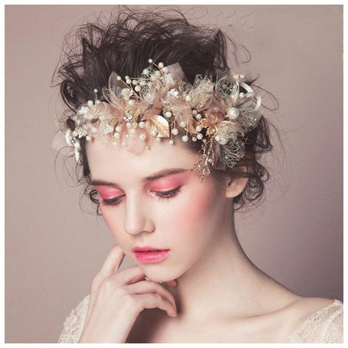 Pink pearl flower bridal headband Gold beaded leaf Hair jewelry crystal tiara bridal wedding accessories - www.eufashionbags.com
