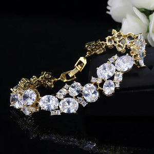 Oval African Cubic Zirconia Chain & Link Bracelets Big Wide Bridal Wedding Bracelets Jewelry for Brides Gift - www.eufashionbags.com
