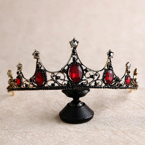 Baroque Retro Black Crystal Tiaras Crowns Wedding Hair Accessory Princess Queen Rhinestone Veil Tiara Headbands - www.eufashionbags.com