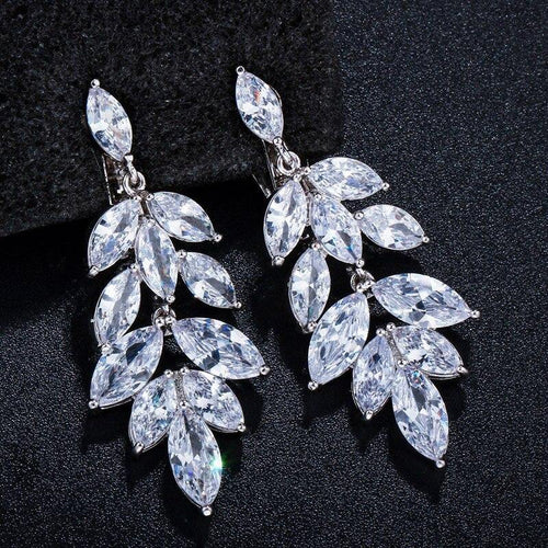 Gorgeous Long Drop Cubic Zirconia Crystal Japanese No Pierced Ear Clip On Earrings for Women Wedding Party CZ407 - www.eufashionbags.com