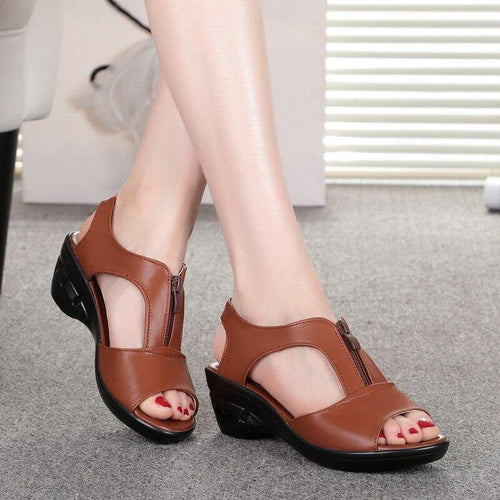 Women Sandals Shoes Genuine Leather PU Beach Summer Zipper sandalias Pumps sandales