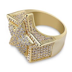 Fashion Iced Out Rings Men's Gold Silver Color Hip Hop Cubic Zircon Jewelry Ring Gifts - www.eufashionbags.com