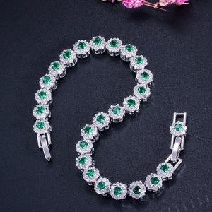 Fashion White Gold Color Flower Chain Link Bracelets CZ Crystal Women Charm Bracelet - www.eufashionbags.com