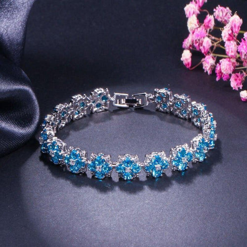 High Quality White Gold Color Chain Link Bracelet CZ Zirconia Austrian Crystal Women charm Bracelets - www.eufashionbags.com