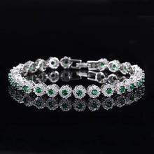 Load image into Gallery viewer, Fashion White Gold Color Flower Chain Link Bracelets CZ Crystal Women Charm Bracelet - www.eufashionbags.com