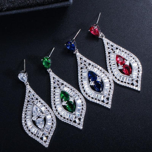 High Quality Baguette Shape Blue Red Cubic Zirconia Women Long Drop Wedding Prom Earring Jewelry Accessories - www.eufashionbags.com