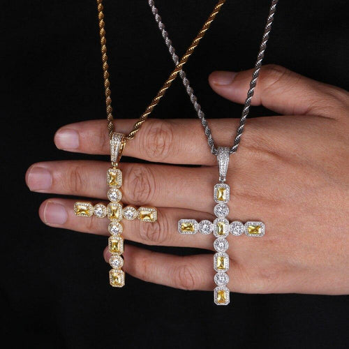 Princess Cut Solitaire Cross Pendant Necklace Tennis Chain Unisex Gold Silver Color CZ Chains Hip Hop Jewelry - www.eufashionbags.com