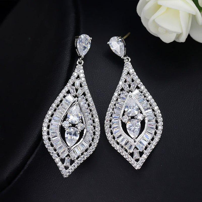 High Quality Baguette Shape Blue Red Cubic Zirconia Women Long Drop Wedding Prom Earring Jewelry Accessories