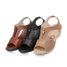 Load image into Gallery viewer, Women Sandals Shoes Genuine Leather PU Beach Summer Zipper sandalias Pumps sandales - www.eufashionbags.com