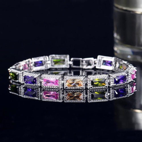 Fashion Women Wedding Wristband Silver Color Chain & Link Bracelets Princess Cubic Zirconia Crystal Bracelet - www.eufashionbags.com