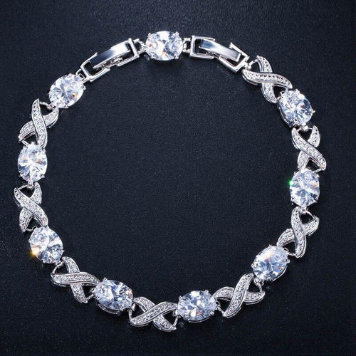 Classic Silver Color Austrian Crystal Charm Bracelet for Wedding Bridesmaid Gift CZ Ladies Jewelry - www.eufashionbags.com