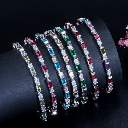 Fashion CZ Red Green Blue Austrian Crystal Chain & Link Bracelets Tennis Women Charm Bracelets Jewelry Gift - www.eufashionbags.com