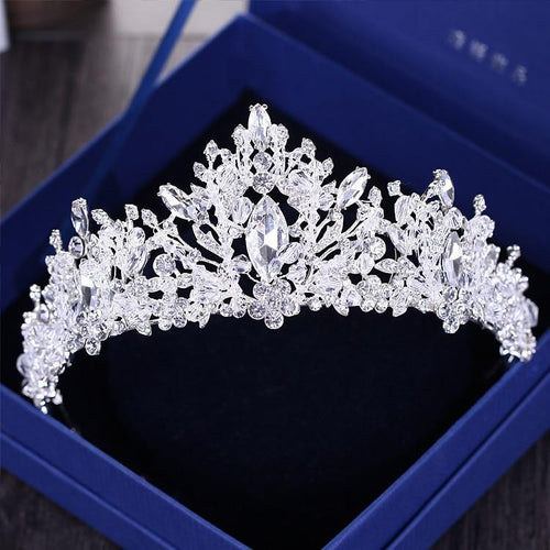 Luxury Rhinestone Beads Heart Bridal Tiaras Crown Wedding Hair Accessories Crystal Diadem Crowns Headband - www.eufashionbags.com