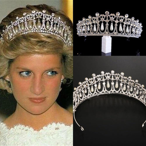 Vintage Silver Bridal Hair Accessories Plated Queen Princess Diana Crown Crystal Pearl Diadem Bride Headbands