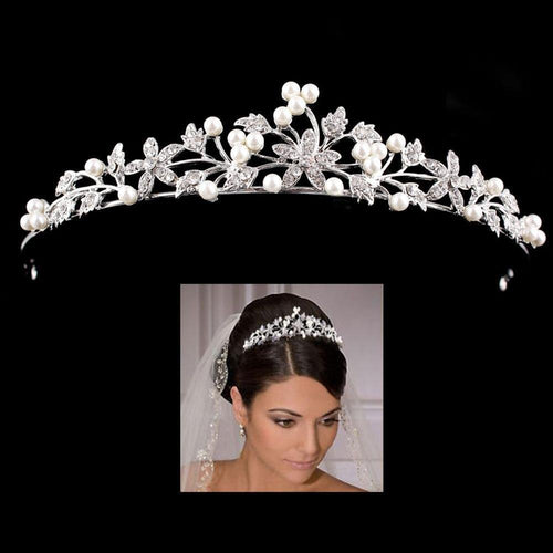 Women Hair Accessories Pearl Bridal Tiara Crowns For Wedding Bride Head Decorations Rhinestone Jewelry - www.eufashionbags.com