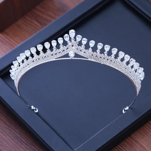 Luxury Cubic Zirconia Sparking Wedding Crown Tiaras Marquise-Cut CZ Rhinestone Prom Crystal Hair Jewelry - www.eufashionbags.com