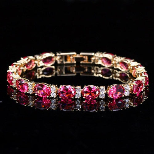 Classic Round Fuchsia Red Cubic Zirconia Crystal Chain & Link Bracelets Connected Bracelets Bangles for Women - www.eufashionbags.com