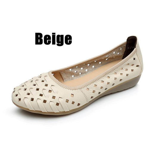 Women Sandals Flats Hollow Out Shoes Genuine Leather Slip On Loafers Casual Vintage Plus Size - www.eufashionbags.com