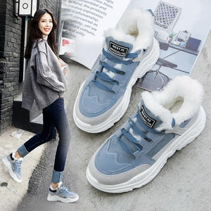 New women suede winter sneakers warm fur plush Insole ankle boots women shoes s20