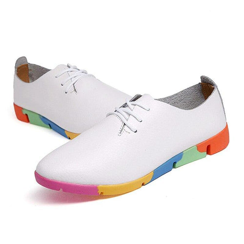 Soft Genuine Leather Women Flats Shoes Ladies loafer Casual Sneakers Lace Up Footwear 35-44 - www.eufashionbags.com