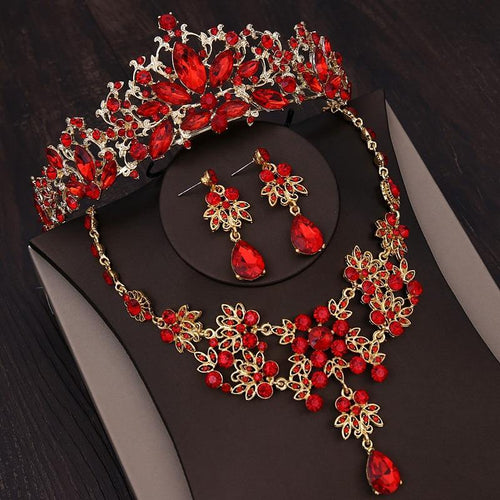 Baroque Gold Color Bridal Jewelry Sets Rhinestone Crown Necklace Earrings Women Vintage Red Crystal Wedding Hair Accessories