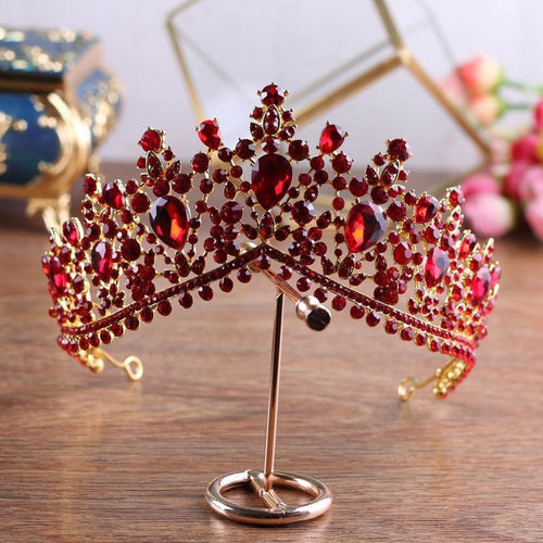 Luxury Gold Red Rhinestone Bridal Tiaras Crown Wedding Hair Accessories Crystal Diadem for Brides Headbands - www.eufashionbags.com