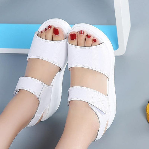Women's Genuine Leather Sandals Platform Casual Summer Shoes Beach sandalias Pumps sandales