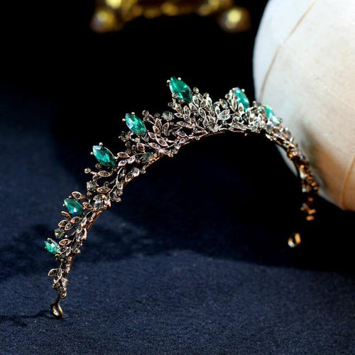 Luxury Vintage Green Crystal Bridal Tiaras Crowns Wedding Hair Accessories Rhinestone Veil Tiara Headpiece - www.eufashionbags.com