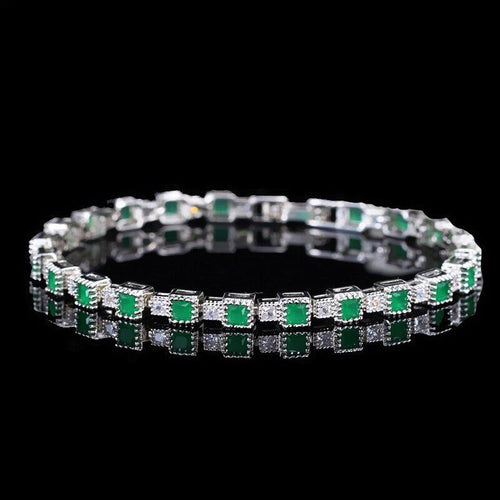 New Fashion Wedding Party Jewelry Chain & Link Bracelets Princess Cut Cubic Zirconia Women Bracelet Bangles - www.eufashionbags.com