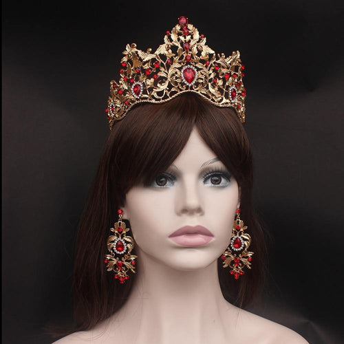Fashion Baroque Magnificent Red Crystal Bridal Tiaras Green Wedding Crown for Bride Pageant Headbands Wedding Hair Accessories