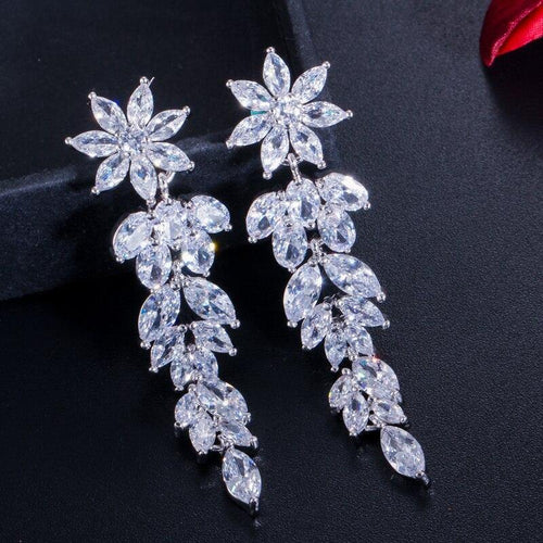Luxury Marquise Cluster Flower Shape Cubic Zirconia Long Dangle Drop Earrings for Brides Wedding Jewelry - www.eufashionbags.com