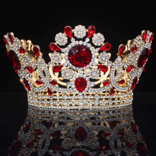 Round Tiaras Crowns Baroque Crystal Wedding Hair Jewelry Accessories Queen Princess Diadem Bridal - www.eufashionbags.com