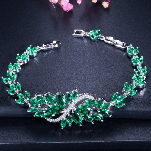 6 Colors Luxury Women Green Crystal CZ Charm Bracelet Bridal Wedding Chain Link Bracelets Bangle - www.eufashionbags.com