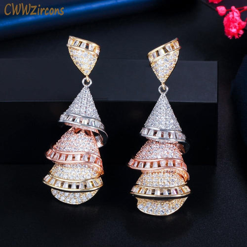 3 Tone Rose Gold Color Shiny CZ Dangling Drop Women Long Wedding Earrings Accessories for Brides Party Jewelry - www.eufashionbags.com