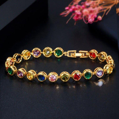 Round Yellow Gold Multi Color Rainbow CZ Cubic Zirconia Bracelets for Women Fashion Jewelry - www.eufashionbags.com