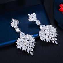 Load image into Gallery viewer, Cubic Zirconia Long Feather Dangle Drop Earrings for Women Wedding Banquet Jewelry Accessories - www.eufashionbags.com