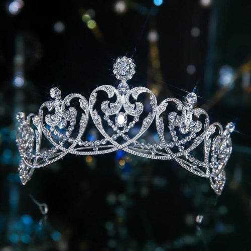 Luxury Crystal Heart Bridal Tiaras Cubic Zircon Crowns Baroque Rhinestone Pageant Diadem Bride Headband Wedding Hair Accessories - www.eufashionbags.com