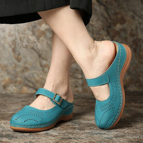 Woman Summer Sandals Buckle Casual Sewing Leather Vintage  Female Ladies Platform Retro Sandalias