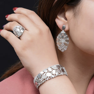 2021 New 3PCs Charms Bracelet Ring Earrings jewelry Set For Women Wedding Bridal Cubic Zircon PARTY Dubai Jewellery Gift - www.eufashionbags.com