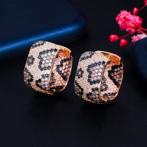 Fashion Luxury Square Cubic Zircon Leopard Earrings for Women Wedding Party Exquisite Jewelry Earrings Gift CZ872