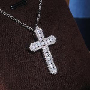 Cross Necklace for Women High-quality Silver Color Bridal Wedding Accessories Full Zircon Statement Jewelry