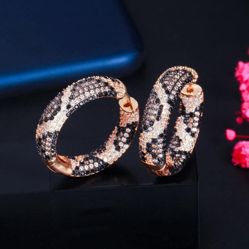 Luxury Round Snake Leopard Hoop Earrings for Women Fashion Cubic Zirconia Wedding Party Bridal Jewelry - www.eufashionbags.com