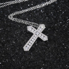 Load image into Gallery viewer, Cross Necklace for Women High-quality Silver Color Bridal Wedding Accessories Full Zircon Statement Jewelry