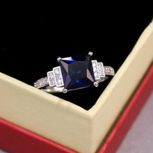 Load image into Gallery viewer, Blue Square Cut Four Claws Women Ring Vintage Lady Luxury Inlaid Zircon Female Jewelry Wedding Rings - www.eufashionbags.com