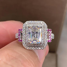 Load image into Gallery viewer, Proposal Engagement Rings for Women Full Bling Iced Out Shiny Crystal Cubic Zirconia Silver Color Trendy Jewelry